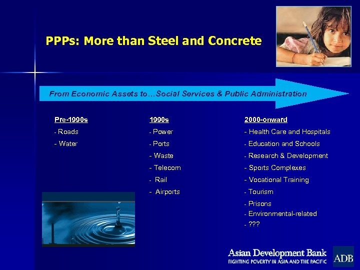 PPPs: More than Steel and Concrete From Economic Assets to…Social Services & Public Administration
