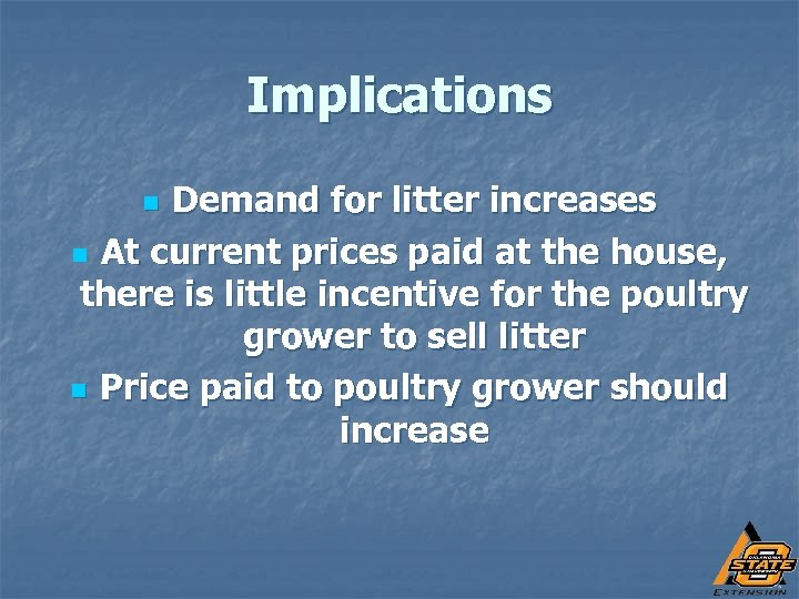 Implications Demand for litter increases n At current prices paid at the house, there
