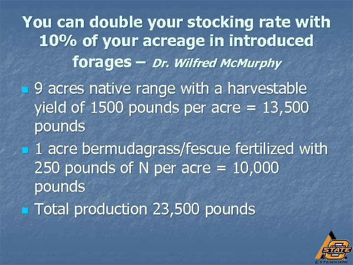 You can double your stocking rate with 10% of your acreage in introduced forages