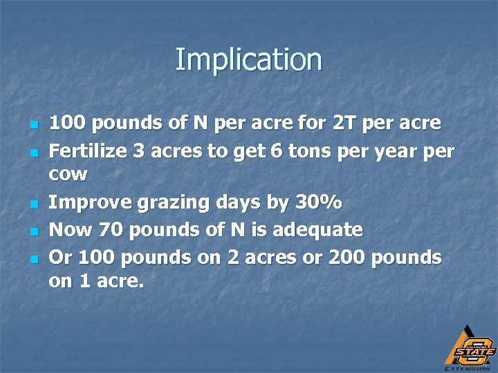 Implication n n 100 pounds of N per acre for 2 T per acre