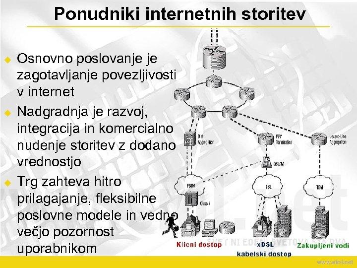 Ponudniki internetnih storitev u u u Osnovno poslovanje je zagotavljanje povezljivosti v internet Nadgradnja