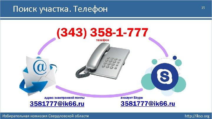 Поиск участка. Телефон 15