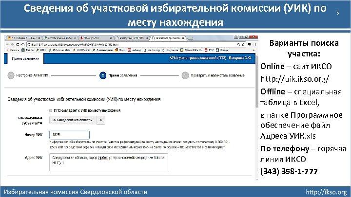 Сведения об участковой избирательной комиссии (УИК) по месту нахождения 5 Варианты поиска участка: Online