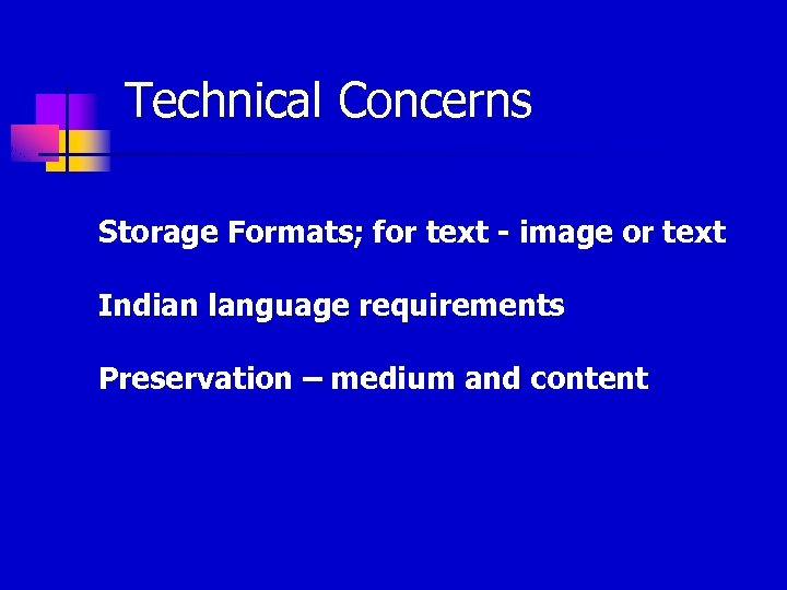 Technical Concerns Storage Formats; for text - image or text Indian language requirements Preservation