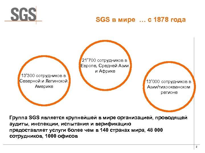 SGS в мире … с 1878 года 13' 300 сотрудников в Северной и Латинской