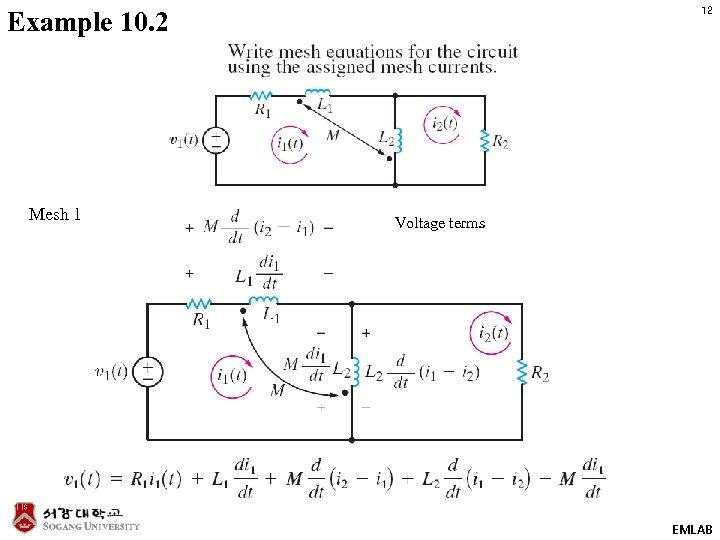 12 Example 10. 2 Mesh 1 Voltage terms EMLAB