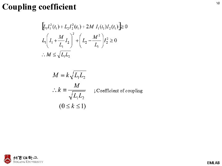 18 Coupling coefficient ; Coefficient of coupling EMLAB