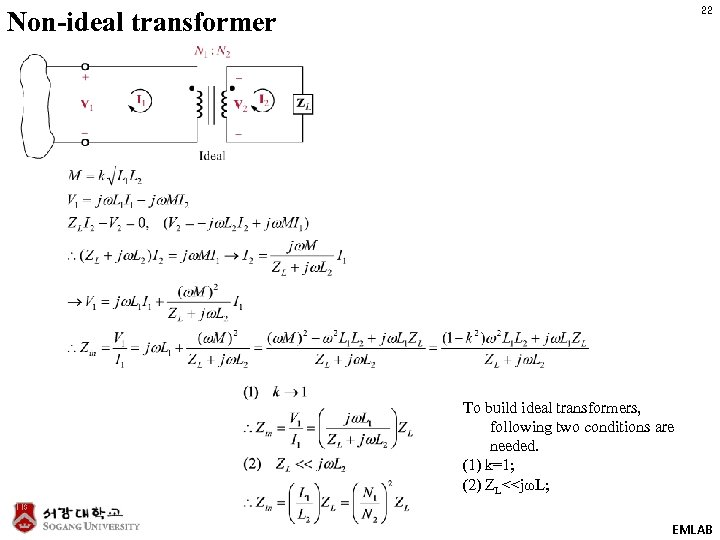 22 Non-ideal transformer To build ideal transformers, following two conditions are needed. (1) k=1;