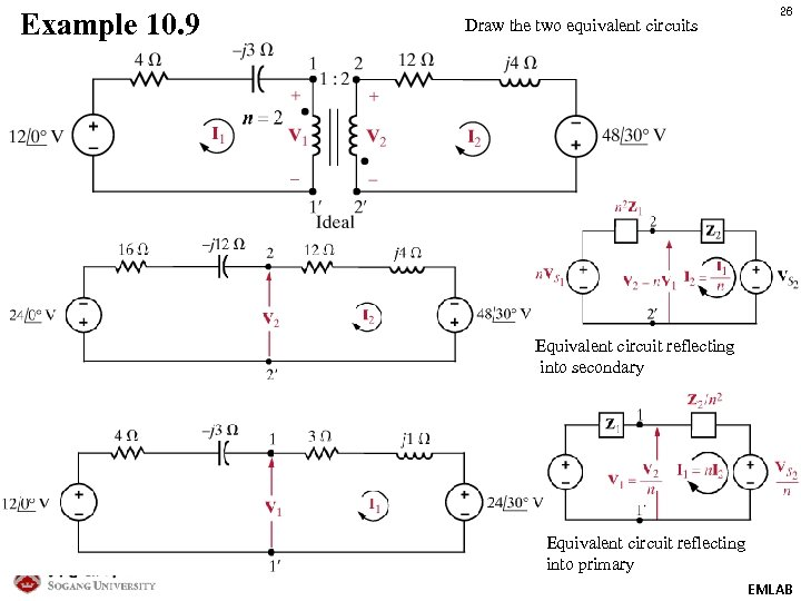 Example 10. 9 Draw the two equivalent circuits 26 Equivalent circuit reflecting into secondary