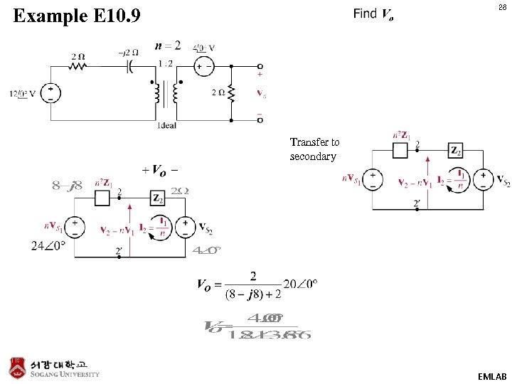28 Example E 10. 9 Transfer to secondary EMLAB