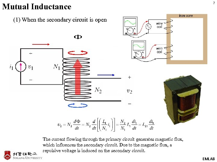 Mutual Inductance 7 (1) When the secondary circuit is open The current flowing through