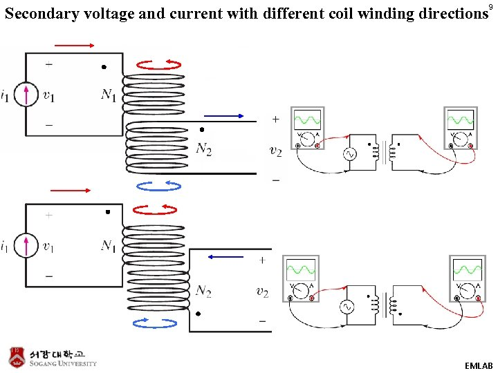 Secondary voltage and current with different coil winding directions 9 EMLAB