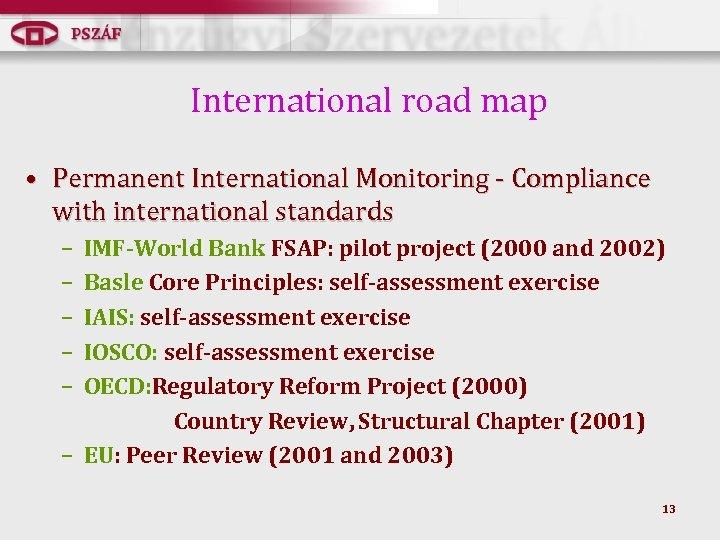 International road map • Permanent International Monitoring - Compliance with international standards – –