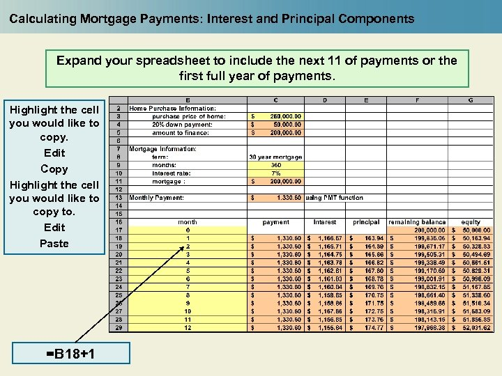 Calculating Mortgage Payments: Interest and Principal Components Expand your spreadsheet to include the next
