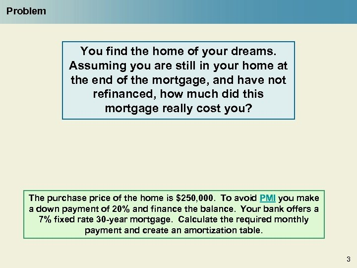 Problem You find the home of your dreams. Assuming you are still in your