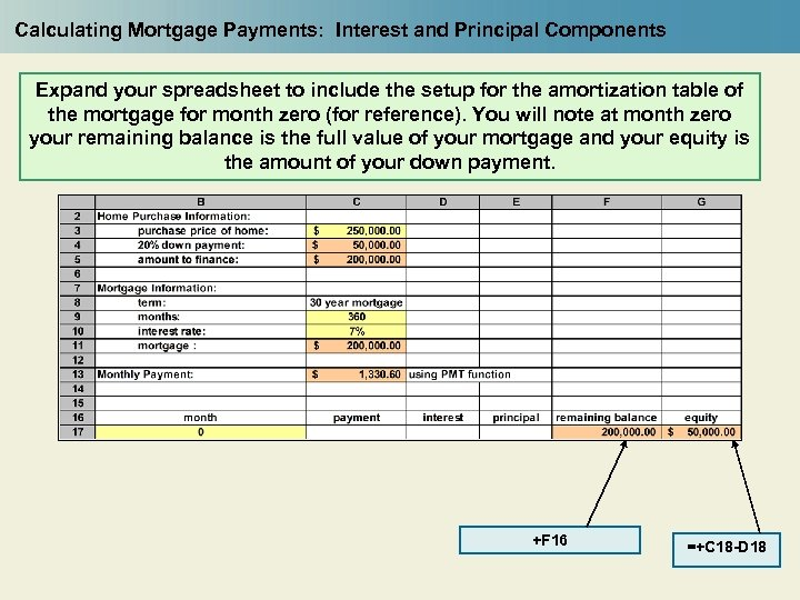 Calculating Mortgage Payments: Interest and Principal Components Expand your spreadsheet to include the setup