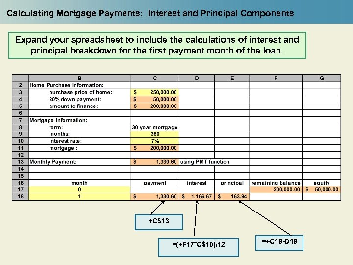 Calculating Mortgage Payments: Interest and Principal Components Expand your spreadsheet to include the calculations