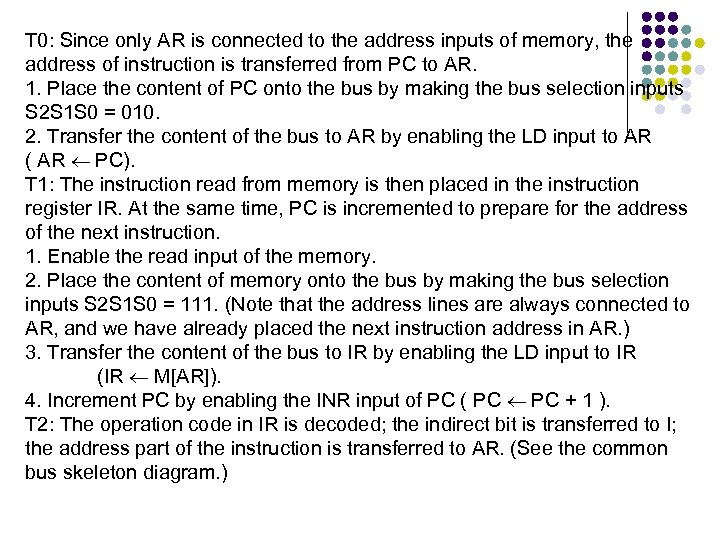T 0: Since only AR is connected to the address inputs of memory, the