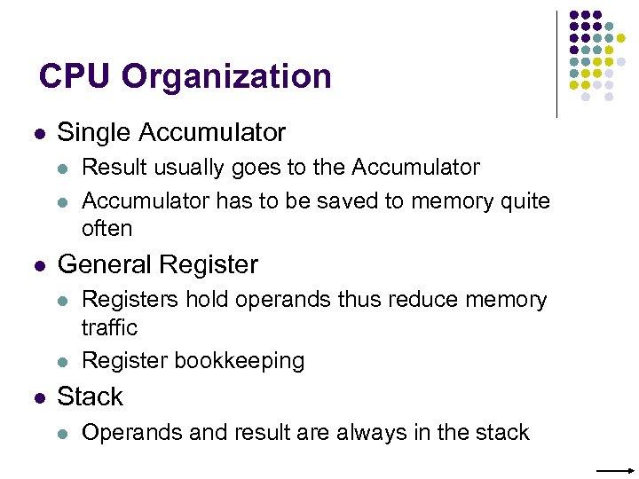 CPU Organization l Single Accumulator l l l General Register l l l Result