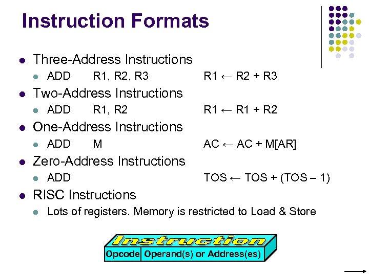 Instruction Formats l Three-Address Instructions l l ADD R 1, R 2 R 1