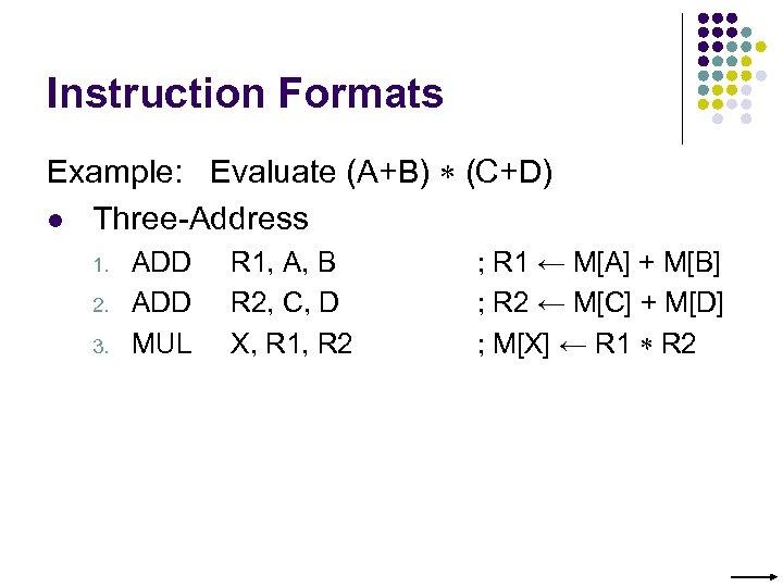Instruction Formats Example: Evaluate (A+B) (C+D) l Three-Address 1. 2. 3. ADD MUL R