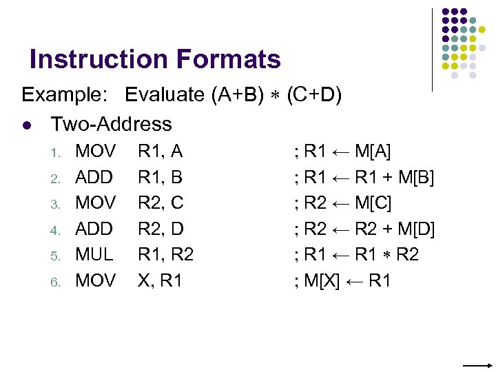 Instruction Formats Example: Evaluate (A+B) (C+D) l Two-Address 1. 2. 3. 4. 5. 6.
