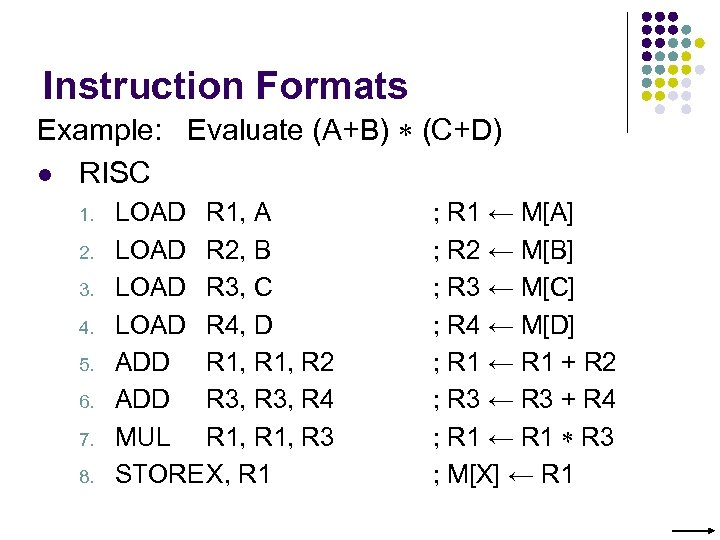 Instruction Formats Example: Evaluate (A+B) (C+D) l RISC 1. 2. 3. 4. 5. 6.