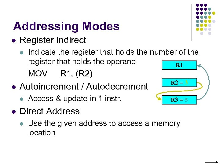 Addressing Modes l Register Indirect l Indicate the register that holds the number of