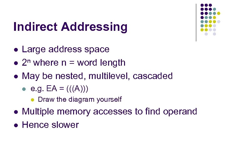 Indirect Addressing l l l Large address space 2 n where n = word
