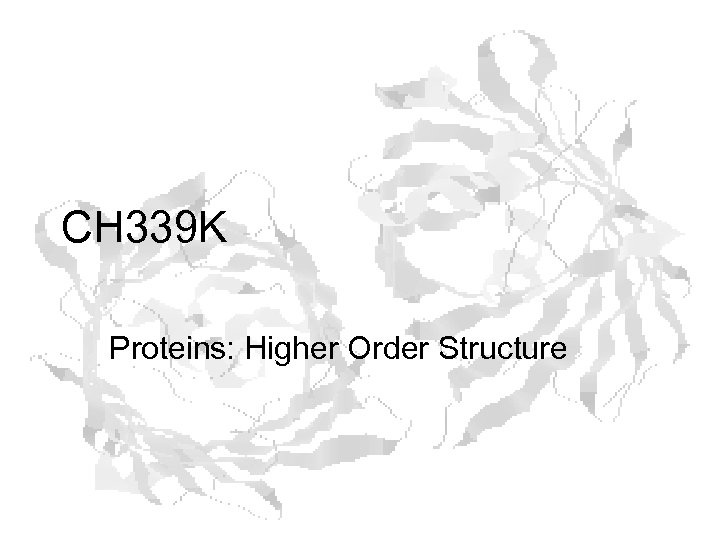 CH 339 K Proteins: Higher Order Structure
