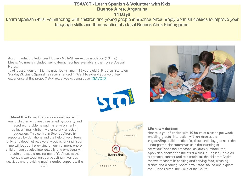 TSAVCT - Learn Spanish & Volunteer with Kids Buenos Aires, Argentina 14 Days