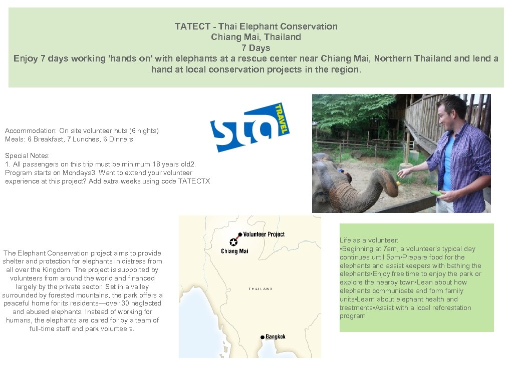 TATECT - Thai Elephant Conservation Chiang Mai, Thailand 7 Days Enjoy 7 days working