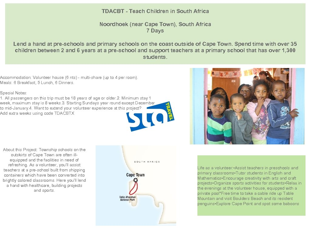 TDACBT - Teach Children in South Africa Noordhoek (near Cape Town), South Africa 7