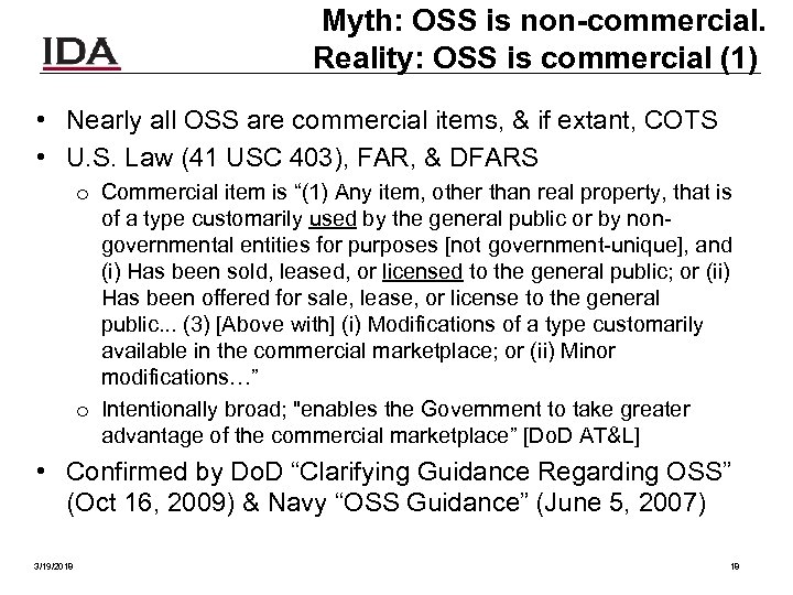 Myth: OSS is non-commercial. Reality: OSS is commercial (1) • Nearly all OSS are