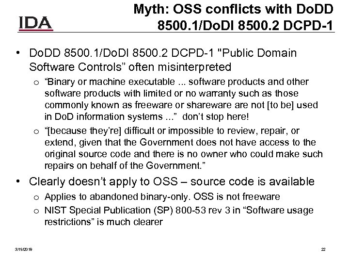 Myth: OSS conflicts with Do. DD 8500. 1/Do. DI 8500. 2 DCPD-1 • Do.
