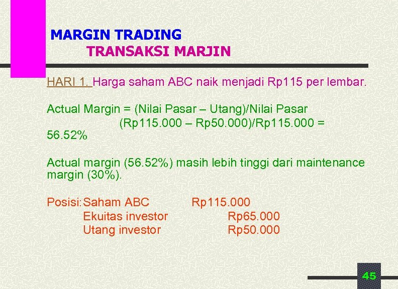 MARGIN TRADING TRANSAKSI MARJIN HARI 1. Harga saham ABC naik menjadi Rp 115 per