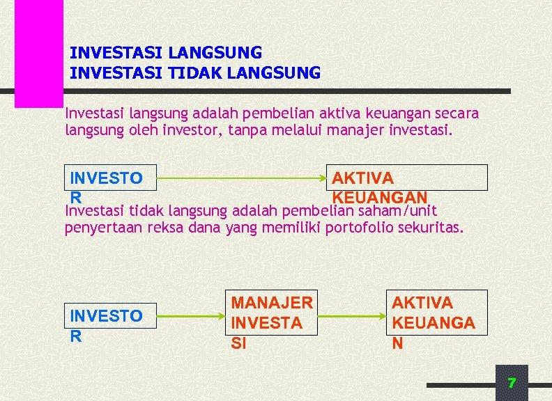 INVESTASI LANGSUNG INVESTASI TIDAK LANGSUNG Investasi langsung adalah pembelian aktiva keuangan secara langsung oleh