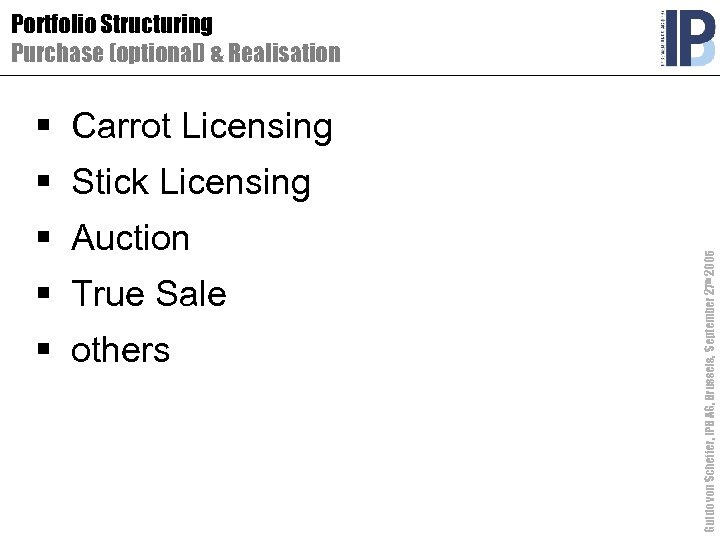 Portfolio Structuring Purchase (optional) & Realisation § Carrot Licensing § Auction § True Sale