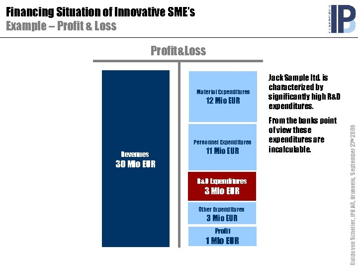Financing Situation of Innovative SME's Example – Profit & Loss Profit&Loss 12 Mio EUR