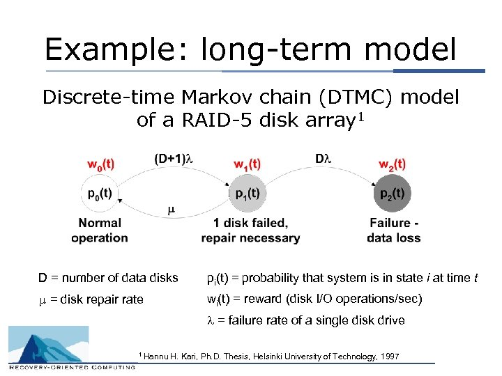 Example: long-term model Discrete-time Markov chain (DTMC) model of a RAID-5 disk array 1