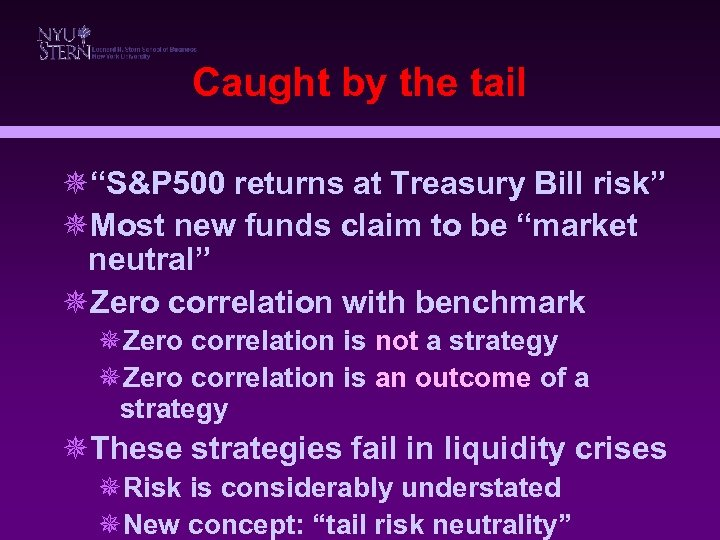 "Caught by the tail ¯""S&P 500 returns at Treasury Bill risk"" ¯Most new funds"