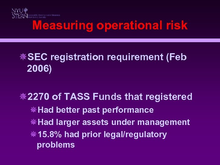 Measuring operational risk ¯SEC registration requirement (Feb 2006) ¯ 2270 of TASS Funds that