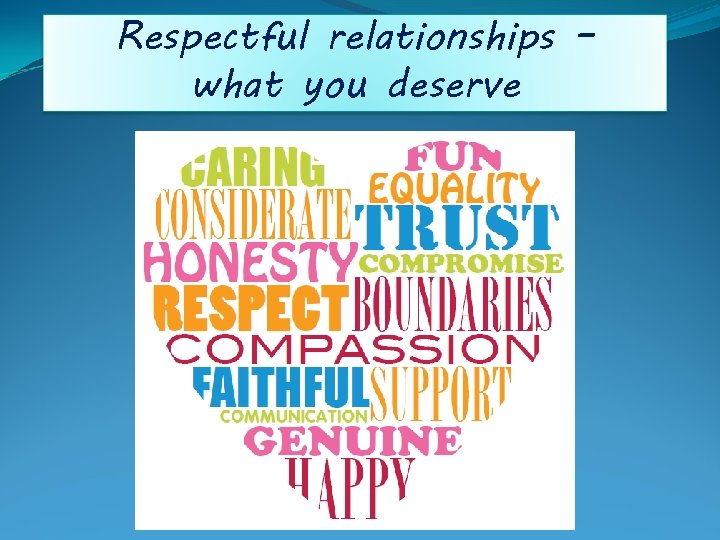 Respectful relationships – what you deserve