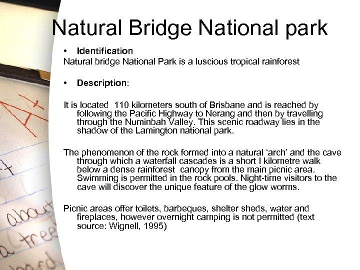 Natural Bridge National park • Identification Natural bridge National Park is a luscious tropical