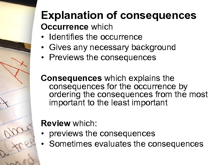 Explanation of consequences Occurrence which • Identifies the occurrence • Gives any necessary background