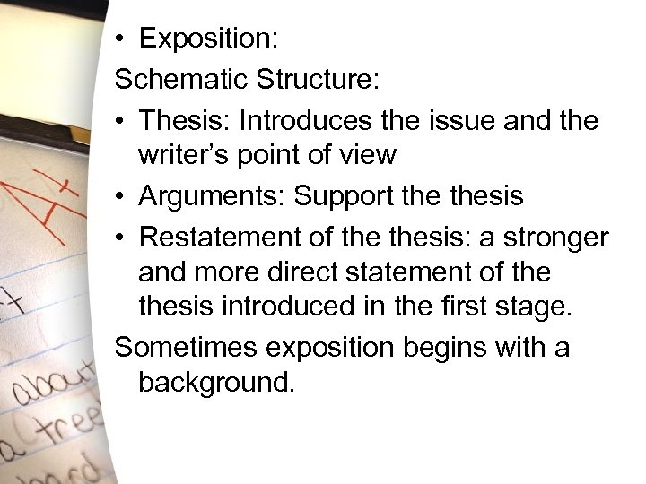 • Exposition: Schematic Structure: • Thesis: Introduces the issue and the writer's point