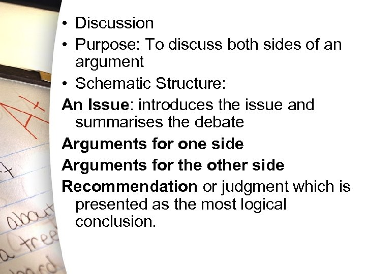 • Discussion • Purpose: To discuss both sides of an argument • Schematic
