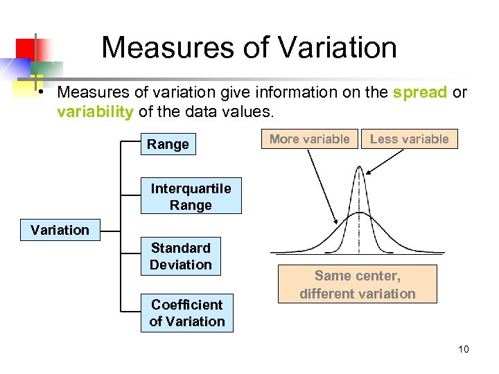 Measures of Variation • Measures of variation give information on the spread or variability