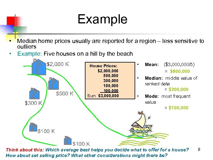 Example • Median home prices usually are reported for a region – less sensitive