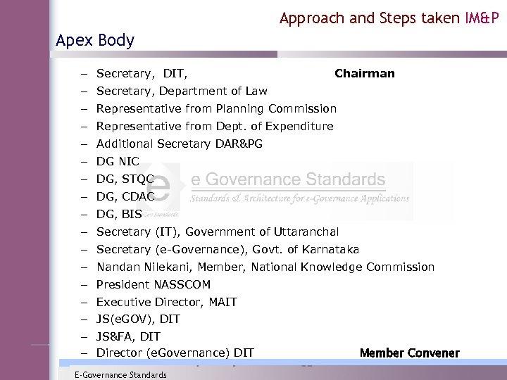 Approach and Steps taken IM&P Apex Body – Secretary, DIT, Chairman – Secretary, Department